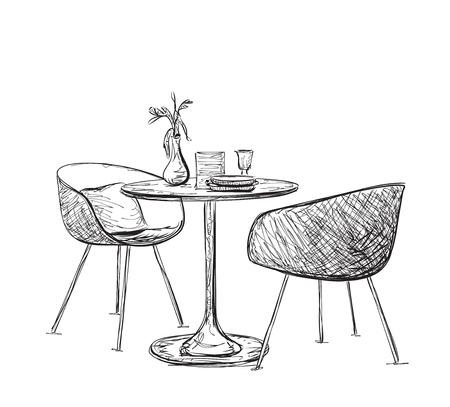 Schets van modern interieur tafel en stoelen. Hand getrokken meubels Vector Illustratie