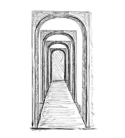Sketch of hall. Hand drawn interior illustration