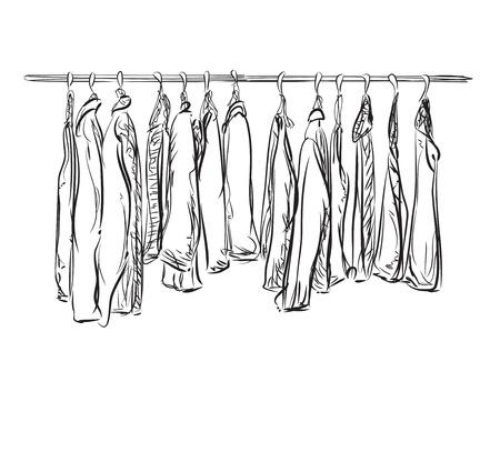 Kleiderschrank gezeichnet  Hand Gezeichnet Kleiderschrank Skizze. Doodles Flur Zwischen Den ...