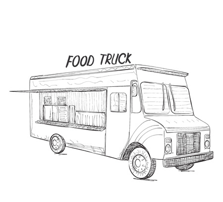 Hand drawn food truck. Delivery service sketch Çizim