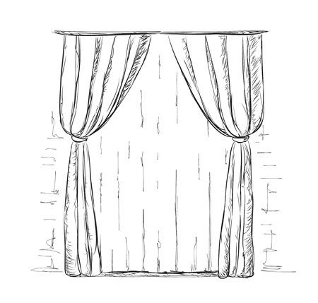 velvet rope: Hand drawn curtains sketch. Room interiors element.