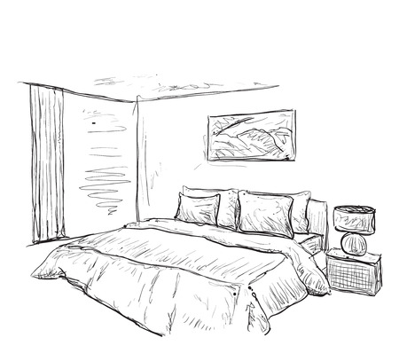 interior drawing: Bedroom modern interior drawing isolated on white background Illustration