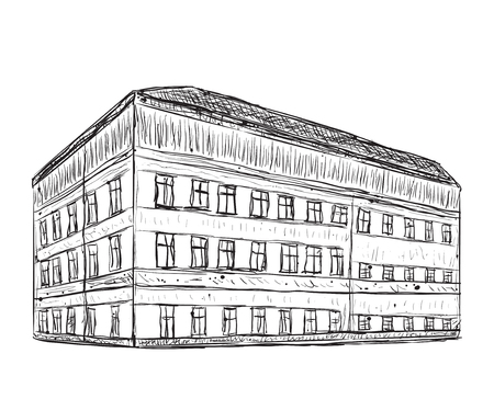 building sketch: Hand drawn house. Doodle building sketch with windows.