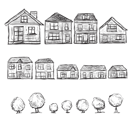 building sketch: Hand drawn houses set. Doodle building sketch and trees.