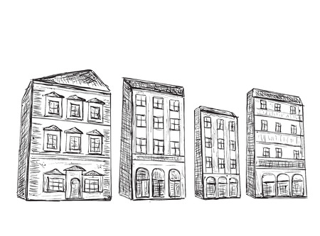 building sketch: Hand drawn houses set. Doodle building sketch with windows.