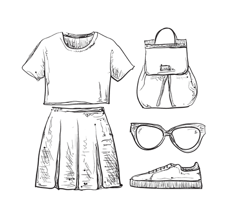 summer dress: Linear clothes and accessories. Summer dress, shirt and skirt Illustration