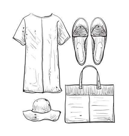 dress shirt: Linear clothes and accessories. Summer dress, shirt and skirt Illustration