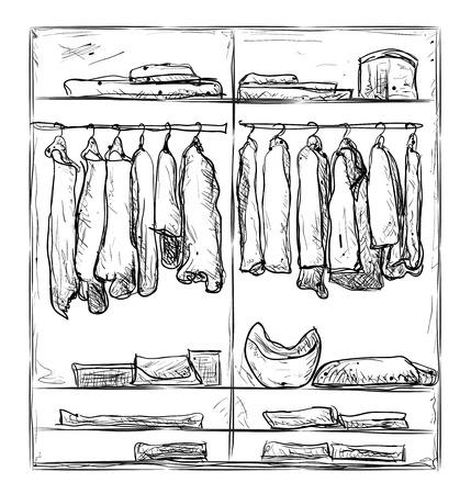 Kleiderschrank gezeichnet  Hand Gezeichnet Kleiderschrank Skizze. Die Möbel Für Die Kleidung ...