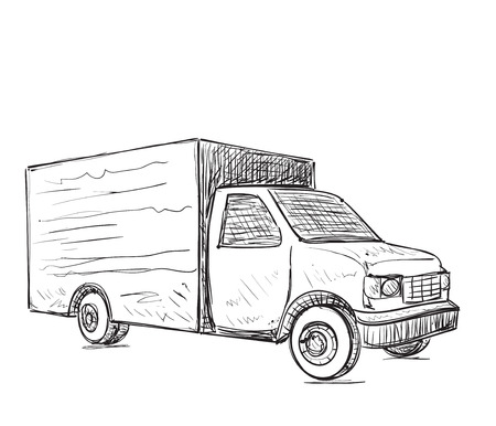 hand truck: International delivery service. Hand drawn truck sketch.