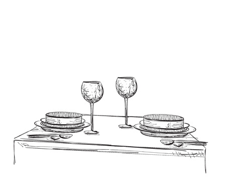 wares: Hand Drawn wares sketch. Romantic dinner for two. Illustration