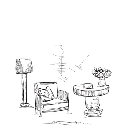 comfortable: Drawing room sketch. Hand drawing comfortable interior