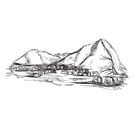grafito: grafito dibujado mano montañas ilustración vectorial boceto.
