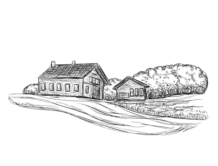 building sketch: Landscape with Fields and Building sketch. Hand drawn Vector Illustration Illustration