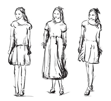 flirt: Hand drawn models sketch. Girls in the dress