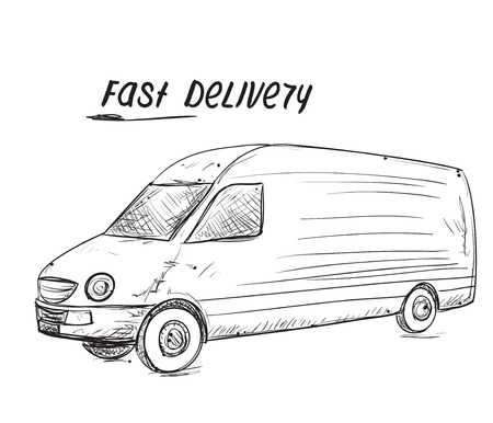 hand truck: Fast delivery service. Hand drawn truck sketch. Illustration