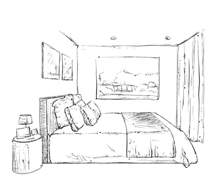 bedroom furniture: Hand drawn bedroom interior sketch. Doodles furniture