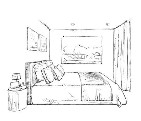 bedroom furniture: Hand drawn bedroom interior sketch. Doodles furniture