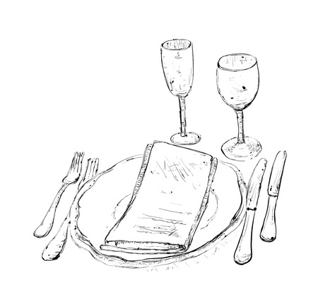 wares: Hand Drawn wares. Romantic dinner with wine