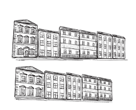 building sketch: Hand drawn houses. Doodle building sketch with windows.
