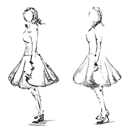 flirt: Fashion girls sketch. Hand drawn doodles models in the dress. Illustration