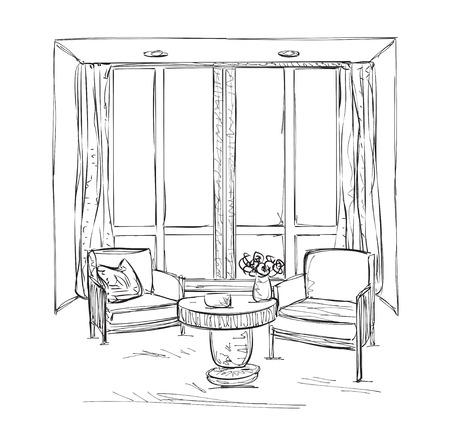 Room interior sketch. Hand drawn chairs and furniture. Window and curtains.