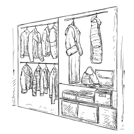 open shirt: Hand drawn wardrobe sketch. Room interior with clothes.