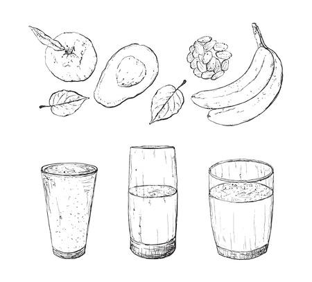 detox: Vector illustration of vegan detox smoothie. Healthy drink made of avokado, nuts. banana, berries and mint.
