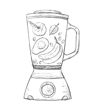 detox: Cooking smoothie in a blender. Healthy detox drink.