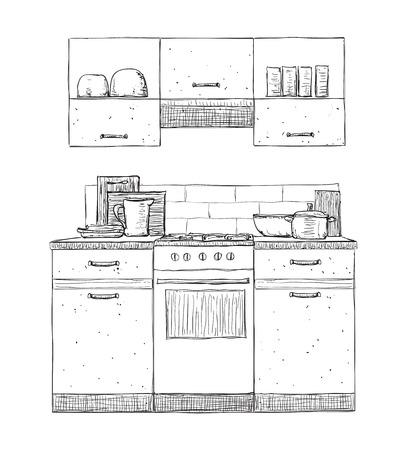 dinnerware: Kitchen cupboard, kitchen shelves, hand drawn furniture