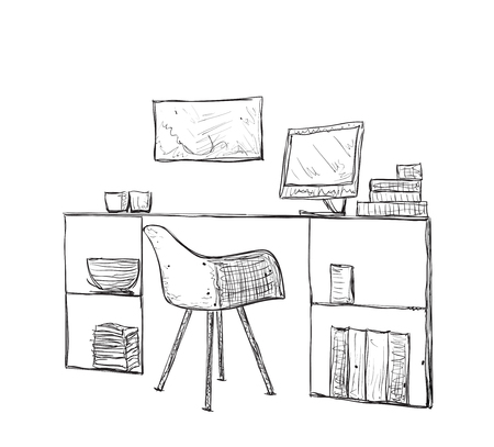 office furniture: Hand drawn workplace. Office furniture. Chair and table sketch.