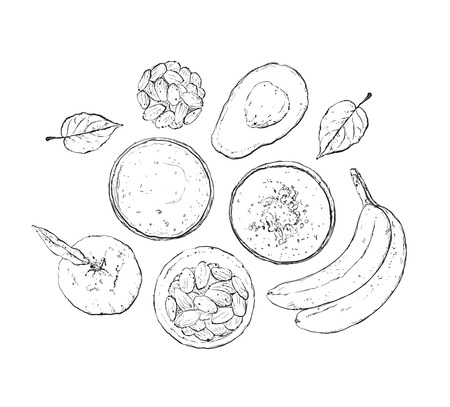 detox: Vector illustration of vegan detox smoothie. Healthy drink made of fruits and nuts.