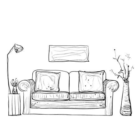 Sofa gezeichnet  Zimmer Inter Skizze. Hand Gezeichnet Stühle Und Tisch ...