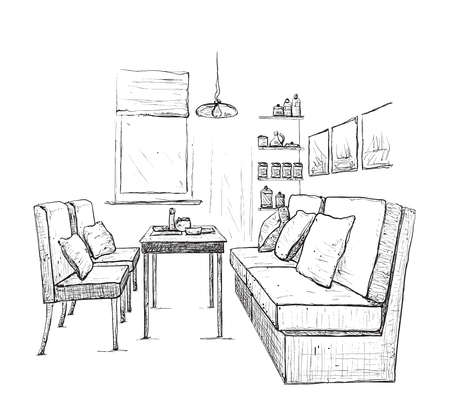 drawing room: Modern interior hand drawing vector. Living room Illustration
