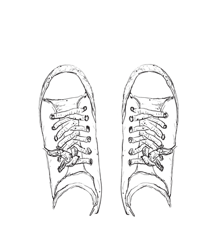keds: Hand drawn sneakers, casual shoes. Keds vector illustration Illustration