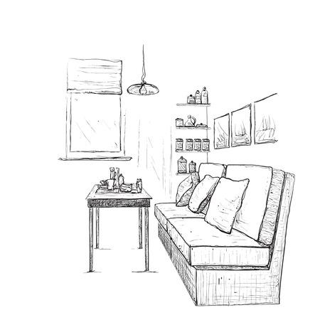 modern living room: Modern interior hand drawing vector. Living room Illustration