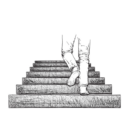 strive: Man climbing the stairs. Hand drawn stairs and legs
