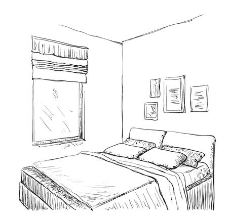 bedroom furniture: Bedroom modern interior sketch. Hand drawn furniture
