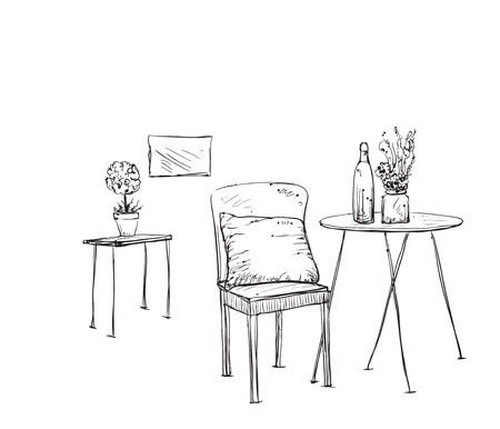 outdoor furniture: Furniture in summer cafe. Hand drawn chair and table