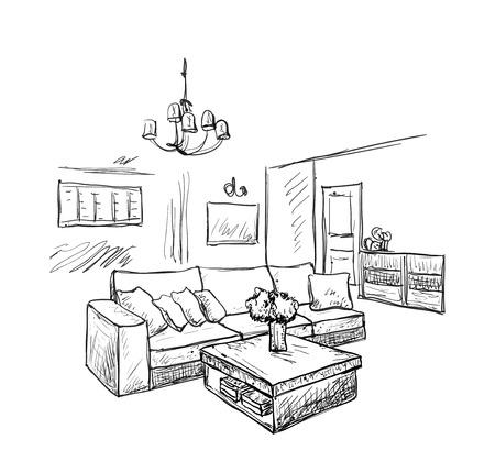 Mano habitación dibujado entre boceto. esbozo de muebles Ilustración de vector