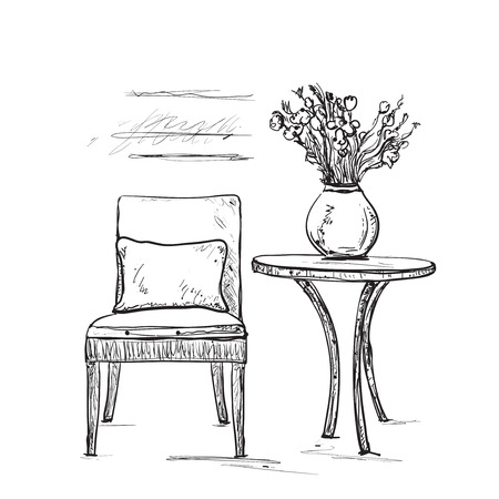 Room interior sketch. Hand drawn chair and table Illustration