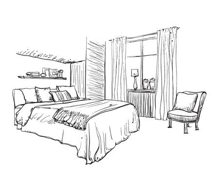 bedroom furniture: Interior design of the classic bedroom. Hand drawn furniture