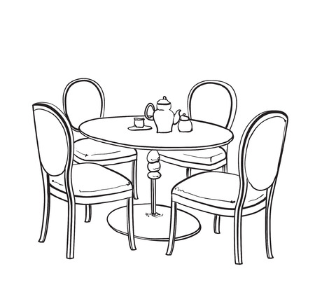 outdoor furniture: Furniture in summer cafe. Chair and table sketch