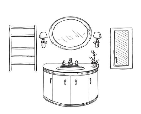 shower curtain: Bathroom interior sketch. Hand drawn washbasin. Bouquet of flowers Illustration