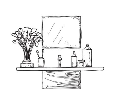 flower bath: Bathroom interior sketch. Hand drawn washbasin. Bouquet of flowers Illustration