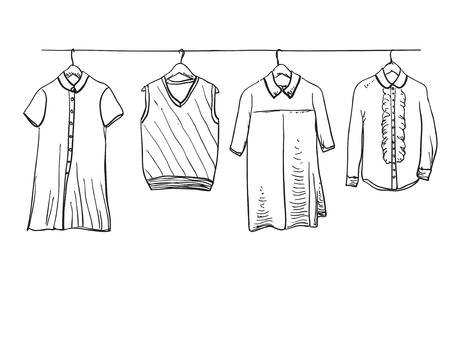 School uniform. Hand drawn clothes on the hanger