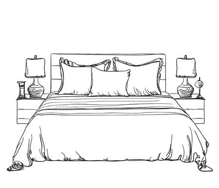 modern interior: Bedroom modern interior sketch. Hand drawn furniture