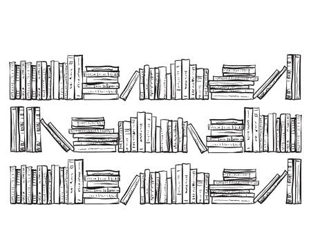 Boekenkast met veel boeken. Hand getrokken boeken planken Stock Illustratie