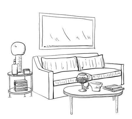 small room: Hand drawn sketch of modern living room interior with a small coffee table and lamp.