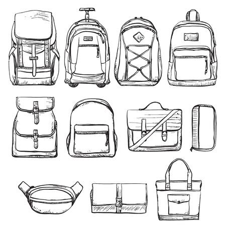 Zestaw różnych rodzajów plecaków i torebki. Torba podróżna
