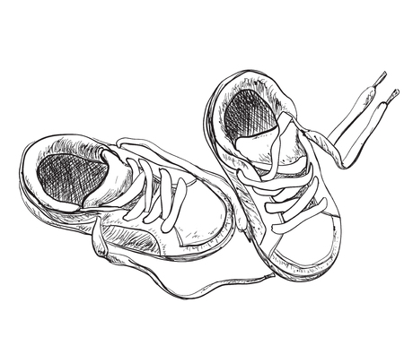 Hand drawn pair of kids shoes. It can be used for decorating invitations and greeting cards.